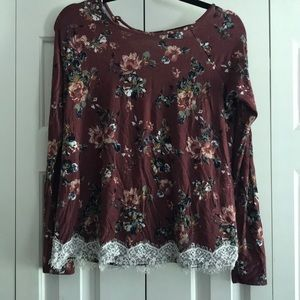 Floral Long Sleeve Top with lace detail